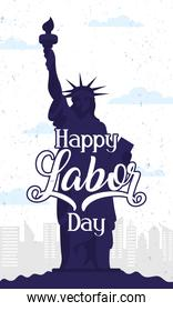happy labor day celebration with liberty statue