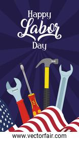 happy labor day celebration with usa flag and tools