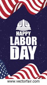 happy labor day celebration with usa flag and helmet