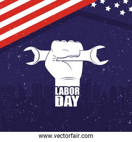 happy labor day celebration with usa flag and hand lifting wrench