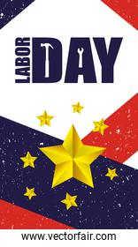 happy labor day celebration with usa flag and golden stars