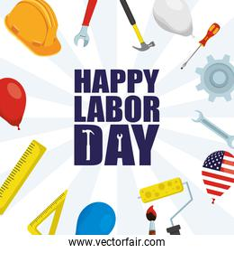 happy labor day celebration with helmet and tools
