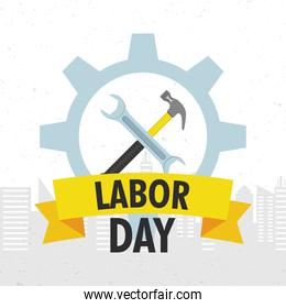 happy labor day celebration with tools in gear