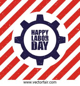 happy labor day celebration with usa flag and lettering in gear
