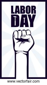 happy labor day celebration with hand fist