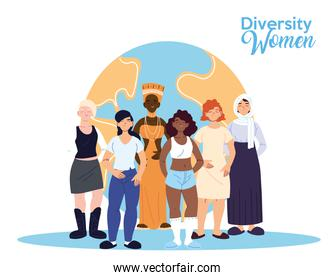 Women cartoons of cultural diversity in front of world vector design