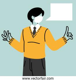 businessman with face mask and speech bubble character