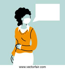 business woman with face mask and speech bubble