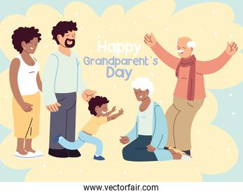 happy family, parents, grandparents and child celebrating grandparents day