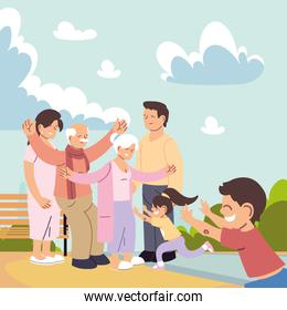 happy family, parents, grandparents and child