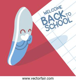 back to school  colorful welcome back to school template, eraser