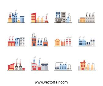 bundle of industry factory set icons