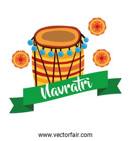 happy navratri celebration with laces and drum decorative flat style