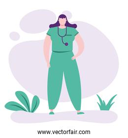 professional female doctor with stethoscope