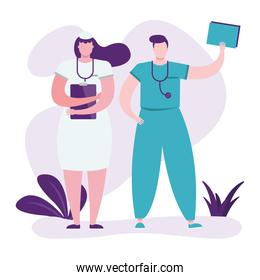 professionals doctors couple with checklist characters