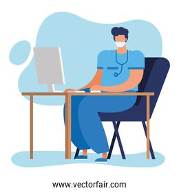professional male doctor with stethoscope using computer