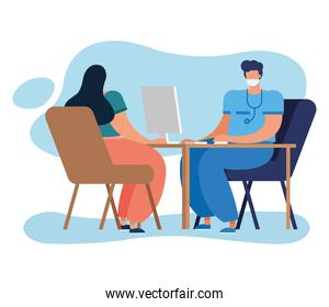 professionals doctor using computer with patient characters