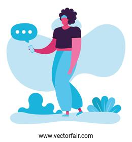 young woman using smartphone with speech bubbles social media technology