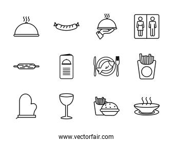 platter and restaurant icon set, line style