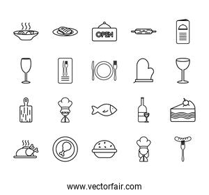 piece of cake and restaurant icon set, line style