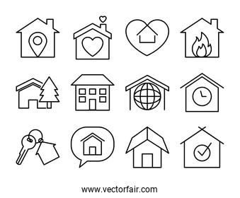 keychain and houses icon set, line style