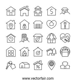 location pin and houses icon set, line style
