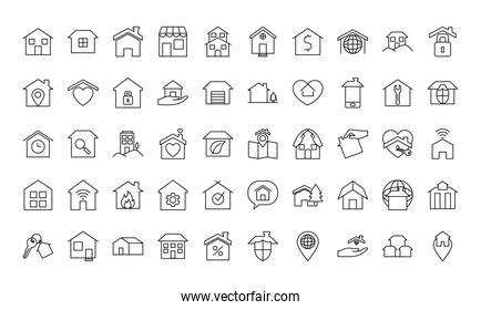 home and houses icon set, line style