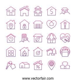 location pin and houses icon set, gradient style