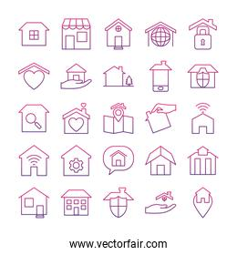 speech bubble and home icon set, gradient style