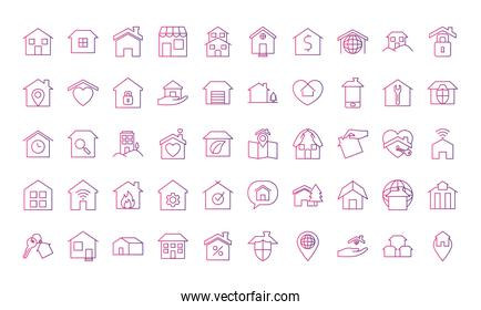 home and houses icon set, gradient style