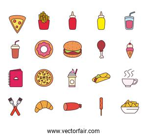 fast food line and fill style icon set vector design