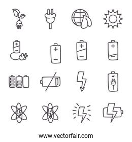 eco energy and power line style icon set vector design