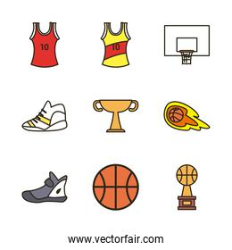 basketball line and fill style icon set vector design