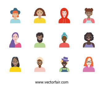 afro women and diversity people icon set, flat style