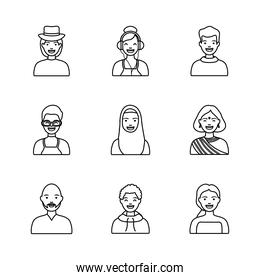 hindu woman and diversity people icon set, line style