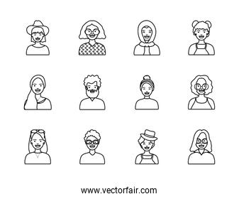 afro women and diversity people icon set, line style