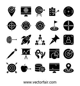 rocket and target icon set, silhouette style