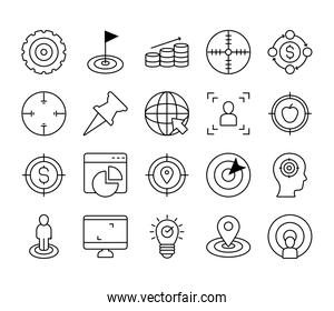computer and target icon set, line style