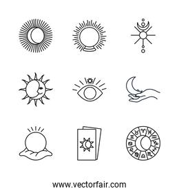 tarot cards and astrology icon set, line style