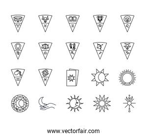 astrology signs and symbols icon set, line style