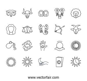 sun and astrology icon set, line style