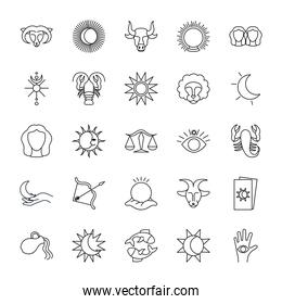 magic ball and astrology icon set, line style