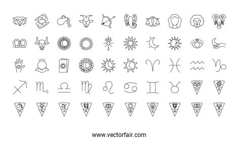 astrology signs icon set, line style