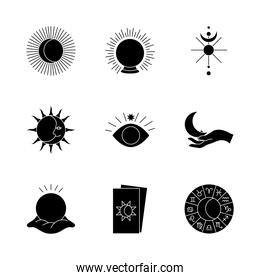 tarot cards and astrology icon set, silhouette style