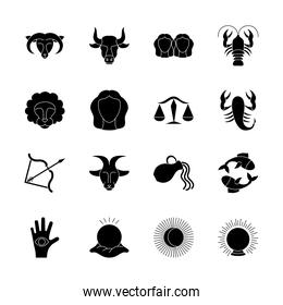 astrology signs icon set, silhouette style