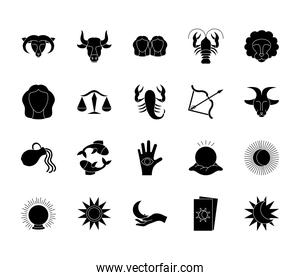 sun and astrology icon set, silhouette style