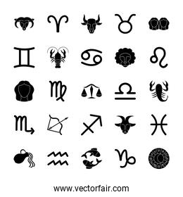 astrology signs and symbols icon set, silhouette style