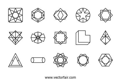 cylinder and geometric shapes icon set, line style