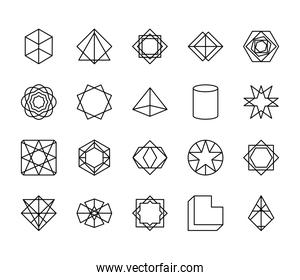cube and geometric shapes icon set, line style