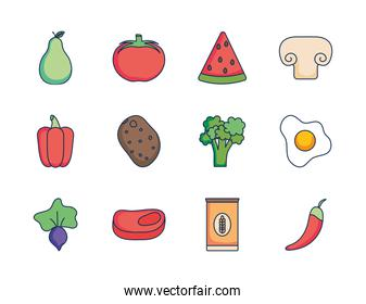 vegetables and healthy food icon set, line fill style
